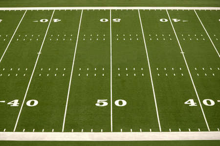 Empty American football field showing 40 and 50 yard lines