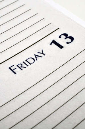 Personal planner opened to Friday the 13th.