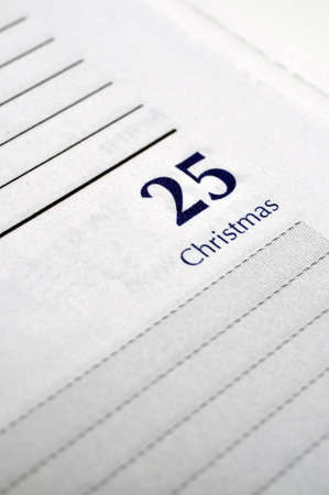 december 25th: Personal planner opened to December 25th Stock Photo