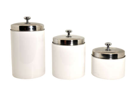 Set of three kitchen canisters isolated on white background  photo