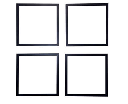 Four blank picture frames isolated on white background  Stock Photo