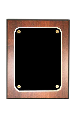 plaque: Blank plaque isolated on white background with clipping path.