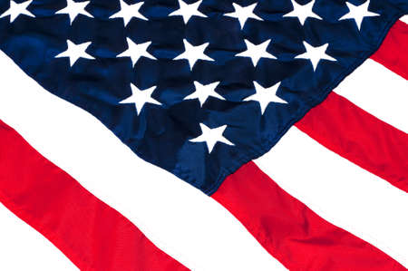 fourth of july: Closeup of stars and stripes on American flag.
