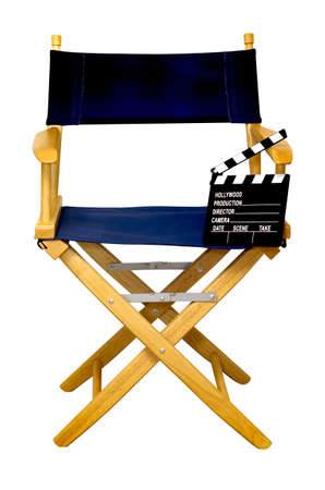 Director's chair with clapboard isolated on white background with clipping path.