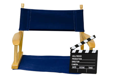 Director's chair with clapboard isolated closeup on white background with clipping path. Stock Photo - 10991943