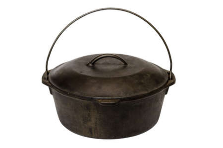 cast iron: Cast iron pot isolated on white background with clipping path.
