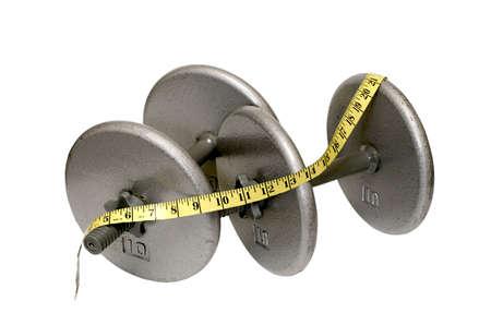 測定テープ クリッピング パスと白い背景で隔離の 2 つのダンベル。 写真素材 - 10991979