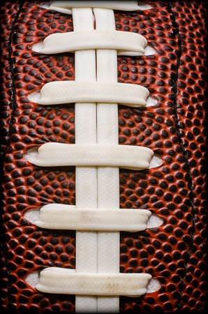 Closeup of laces on American football