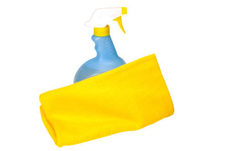 Spring cleaning with cleaning solution and towel   Isolated image on white background with clipping path
