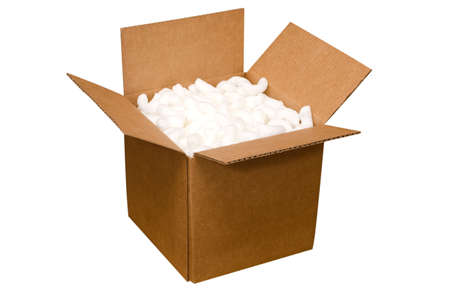 Shipping box with packing peanuts  isolated on white background with clipping path. Stock Photo - 18120528