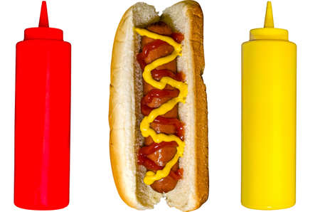 Hot Dog with Ketchup and Mustard Bottles Isolated photo