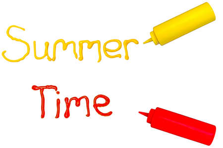 Summer time.  The words summer and time written in cursive with mustard and ketchup. Zdjęcie Seryjne