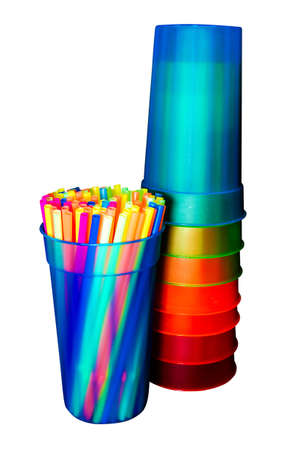 Colorful straws and cups isolated on white background with clipping path. photo