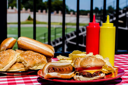 American football party with cheeseburger, hot dog, potato chips, ketchup and mustard bottles and buns   Football field in background  写真素材