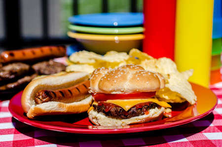 Cookout with cheeseburger, hot dog and potato chips   Mustard and ketchup bottles, bowls, hamburger patties, and hot dog wieners in background  photo