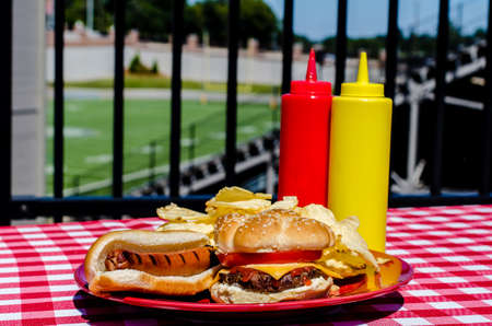 Tailgate party with cheeseburger, hot dog, potato chips and mustard and ketchup bottles   Football field in background