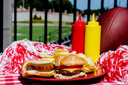 Tailgating party with cheeseburger, hot dog, potato chips, pom poms, and football   Football field in background