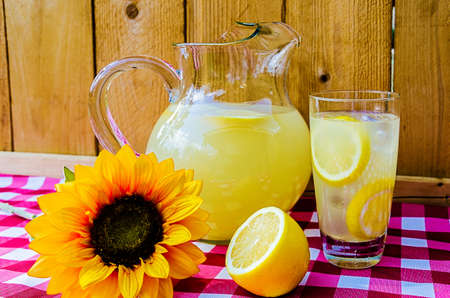 Lemonade with sliced lemons, pitcher, and sunflower on gingham table cloth. Zdjęcie Seryjne