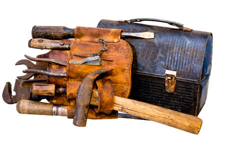 Vintage tools, tool belt, and lunch box isolated on white background with clipping path. Stockfoto