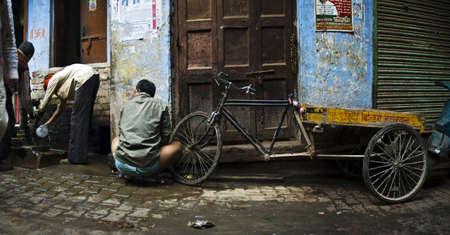 urinating in Varanasi