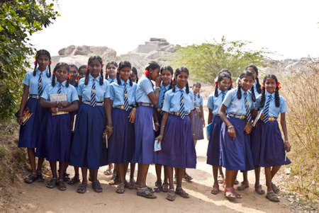 schoolgirls in Hampi