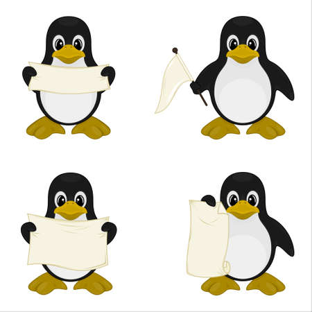 Vector design of four cute penguins holding signs, aesthetic cartoon, on a white background