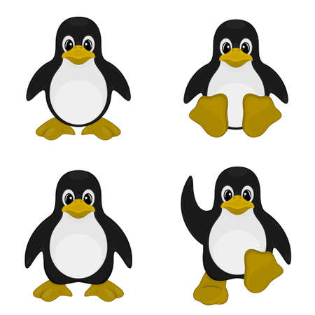 Vector design of four cute penguins, cute cartoon, on a white background