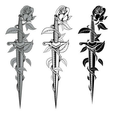 vector rose design with thorns wrapping a dagger, vector in black and white style