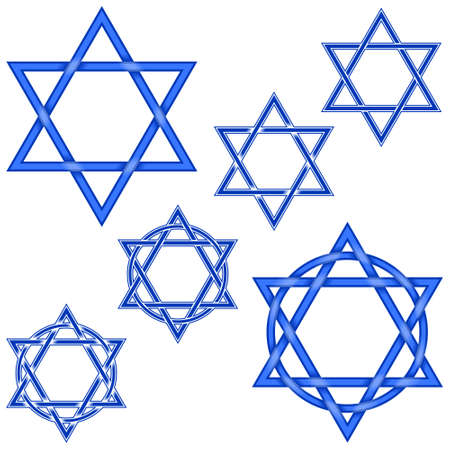 Illustration of 6 stars intertwined hexagram and with circle, in blue color, all on white background, easy to change color and use