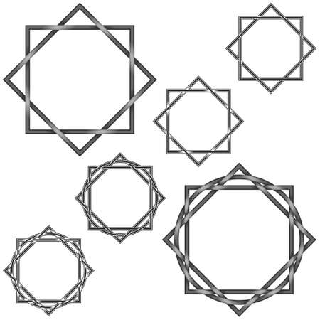 Illustration of 6 octagonal star with circle, in gray color, all on white background, easy to change color and use Illustration