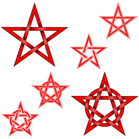 Illustration of 6 intertwined pentagram stars with a circle, in red, all on a white background, easy to change color and use Illustration
