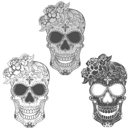 Vector design of Mexican skull, in commemoration of the day of the dead. grayscale.