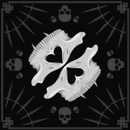 Vector design of scarf with half skull pattern and daggers with gray lines, to use as mask, cover vocals, all on black background.
