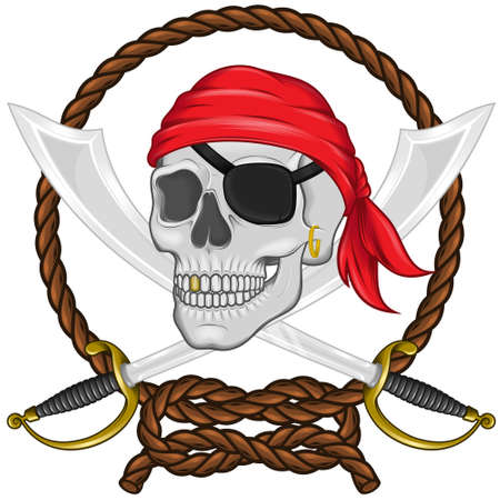 Vector illustration of a pirate skull with two swords surrounded by an intertwined rope, with gradient effect, all on white background