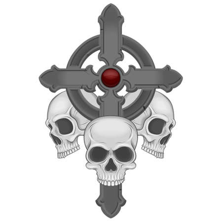 vector illustration of skulls with a cross, with glitter and shadows, all on white background
