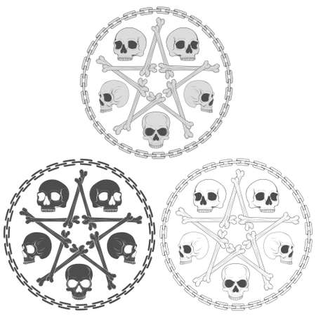 Vector illustration of skulls with bone stara surrounded by a chain circle, in grayscale