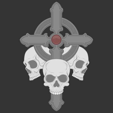 vector illustration of three skulls with a christian cross 矢量图像