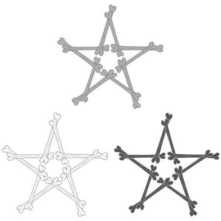 Bone star vector illustration, grayscale 矢量图像