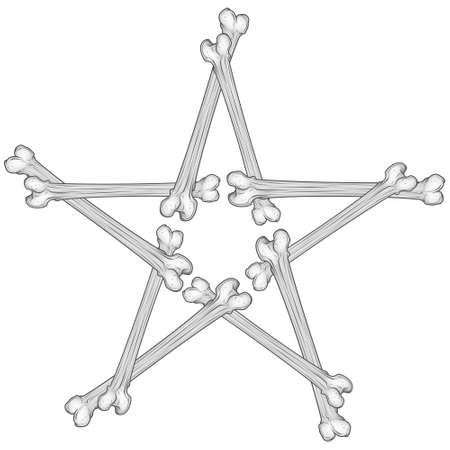 Vector illustration of five pointed star made of bones, all on white background.