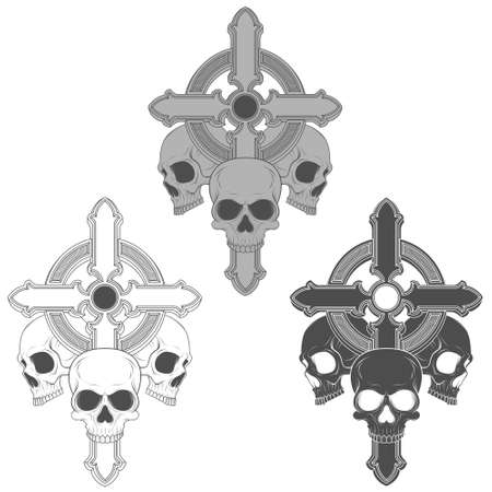 Vector illustration of three skulls with a Christian cross, in scale of crises.