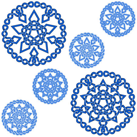 Vector illustration of intertwined stars with circular decoration in Celtic style, easy to edit and change color, all on white background.