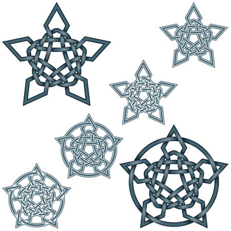 Vector illustration of intertwined stars in Celtic style surrounded by circle, easy to edit and change color, all on white background.