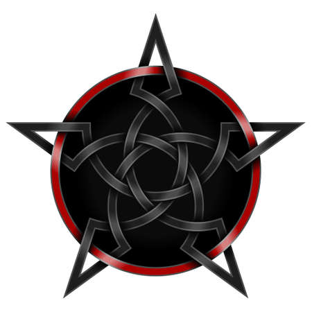Vector illustration of intertwined star in Celtic style surrounded with circle, with black background Çizim