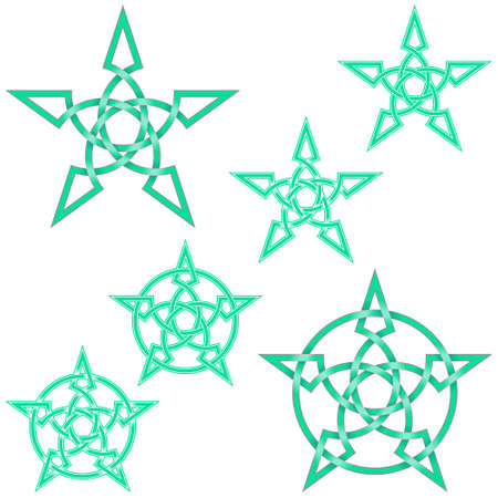Vector illustration of interlaced star in Celtic style surrounded by circle, easy to edit and change color, all on white background. Çizim