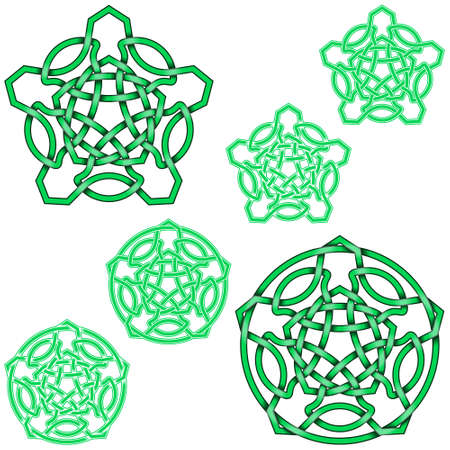 Vector illustration of interlocking five-pointed stars in Celtic style surrounded by circle, easy to edit and change color, all on white background.