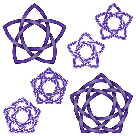 Vector design of five pointed star intertwined with circle in Celtic style, on white background Çizim