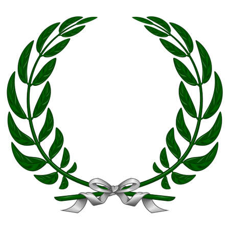 Vector design of laurel wreath tied with ribbon, on white background
