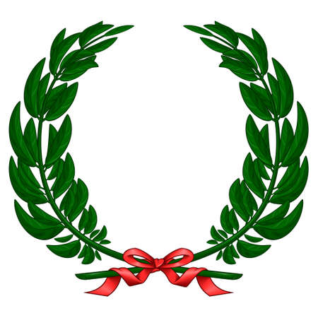 Vector design of olive wreath tied with red ribbon, on white background