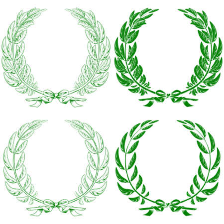 Vector design of laurel and olive wreaths tied with ribbon, on white background