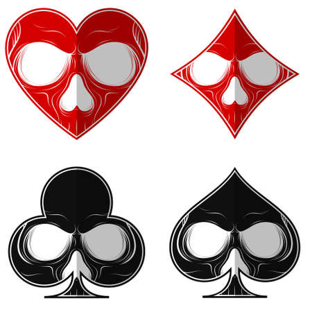 Vector design, skull with the four poker symbols, heart diamond ace clover, all on white background.